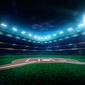 pic of arena  - Professional baseball grand arena in the night - JPG