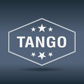 image of tango  - tango hexagonal white vintage retro style label - JPG