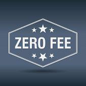 pic of zero  - zero fee hexagonal white vintage retro style label - JPG