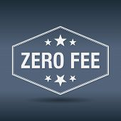 picture of zero  - zero fee hexagonal white vintage retro style label - JPG