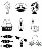 picture of treasure map  - Nautical elements 3 including   seahorse - JPG