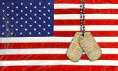picture of preamble  - United States constitution on military dog tags with American flag background - JPG