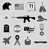 picture of veterans  - american veterans day celebration stickers set eps10 - JPG