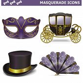 stock photo of masquerade  - Vector Masquerade Icons - JPG
