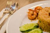 stock photo of shrimp  - Fried rice with shrimp pasteRice Mixed with Shrimp paste detail Thai food - JPG