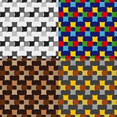 image of quadrangles  - Set color of seamless patterns of quadrangles on a monophonic background - JPG