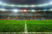 picture of balls  - Soccer ball on the field of stadium with light  - JPG