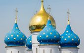 image of trinity  - Closeup of the cupolas of Dormition Cathedral in the Trinity Lavra of St - JPG