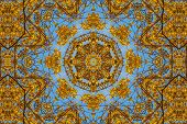 picture of kaleidoscope  - kaleidoscopic floral pattern abstract background for design - JPG