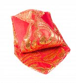 image of brocade  - Bright Brocade Tie with Golden Embroidered Pattern - JPG