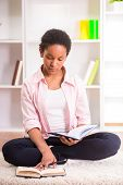 picture of mulatto  - Young pretty mulatto schoolgirl sitting on the carpet and doing homework - JPG