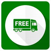 stock photo of free-trade  - free delivery flat icon transport sign  - JPG