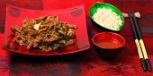 picture of stir fry  - Vietnamese beef stir fry served on a silk table cloth - JPG