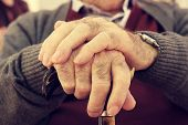 stock photo of memory stick  - closeup of the hands of an old caucasian man with a walking stick - JPG