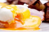 image of benediction  - eggs benedict with farm fresh eggs and ham and fried potatoes - JPG