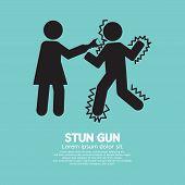 stock photo of taser  - Woman Using A Stun Gun With A Man Vector Illustration - JPG
