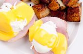 pic of benediction  - eggs benedict with farm fresh eggs and ham and fried potatoes - JPG