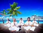 picture of peaceful  - People Yoga Meditation Beach Nature Peaceful Concept - JPG
