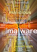 stock photo of glow-worm  - Background text pattern concept wordcloud illustration of malware software glowing light - JPG