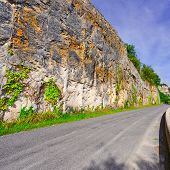 image of french curves  - Winding Asphalt Road in the French Alps - JPG