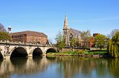 picture of church-of-england  - The English Bridge across the River Severn with United Reformed Church to the right hand side Shrewsbury Shropshire England UK Western Europe - JPG
