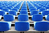 picture of grandstand  - Empty blue seats in stadium - JPG