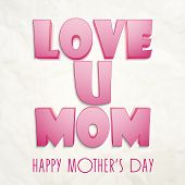 stock photo of i love you mom  - Glossy 3D pink text Love You Mom on grungy background for Happy Mother - JPG