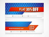 image of nationalism  - American national flag colors website header or banner set for 4th of July - JPG