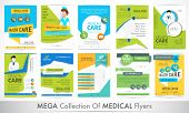 stock photo of medical  - Mega collection of different stylish Flyers for Health and Medical concept - JPG