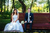 foto of bridal veil  - Bride and Groom at wedding Day walking Outdoors on spring nature - JPG