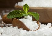 foto of salt-bowl  - Sea salt in bowl and spoon on a wooden background - JPG