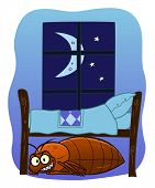 stock photo of maliciousness  - Cartoon malicious bedbug hiding under bed at night - JPG