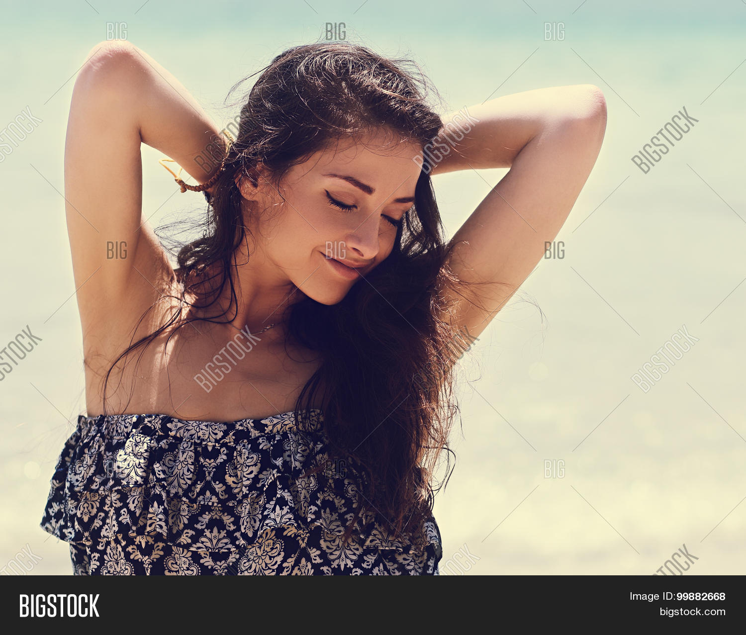 vintage armpits Relaxing Beautiful Woman With Closed Eyes And Epilation Armpits. Vintage