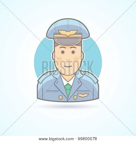 Airplane pilot, aviator icon. Avatar and person illustration. Flat colored outlined style.