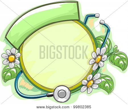 Frame Illustration Featuring Herbal Plants Wrapped Around a Stethoscope
