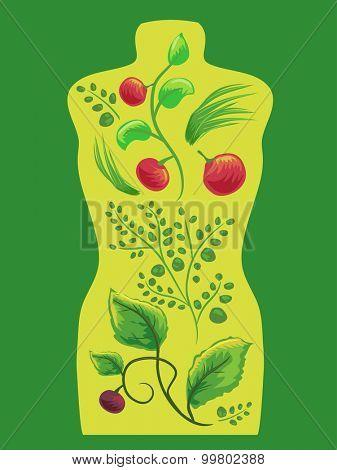 Illustration of Internal Organs Represented by Herbal Plants