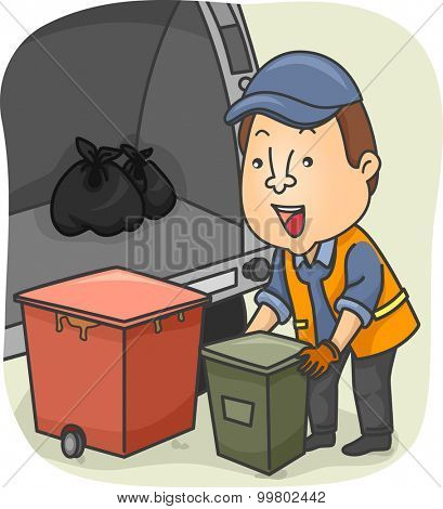 Illustration of a Garbage Collector Loading Garbage in the Truck