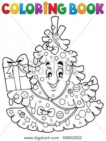 Coloring book Christmas tree topic 1 - eps10 vector illustration.