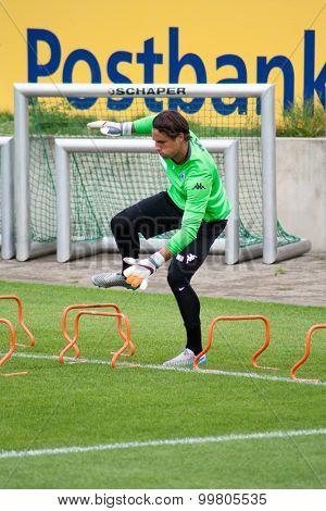 MONCHENGLADBACH, GERMANY - 26th AUGUST, 2015: Professional goalkeeper Yann Sommer during training session of german football club VFL Borussia Monchengladbach.