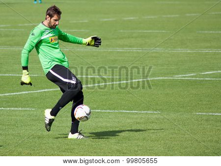 MONCHENGLADBACH, GERMANY - 26th AUGUST, 2015: Professional football player Christofer Heimeroth during training session of german football club VFL Borussia Monchengladbach.