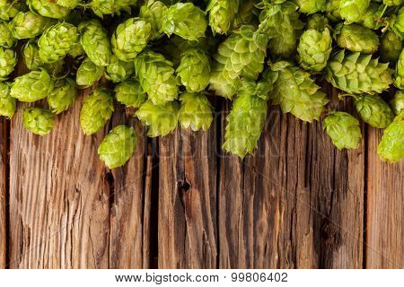 Fresh green hops on a wooden desk, low depth of focus