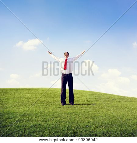 Businessman Solitude Relaxation Freedom Success Concept