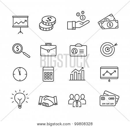Business icons, productivity, team work, human resources, management. Thin lines style.