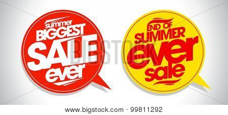 Summer biggest sale ever speech bubbles set.