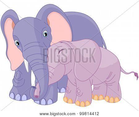 Illustration of mother elephant hugging her baby