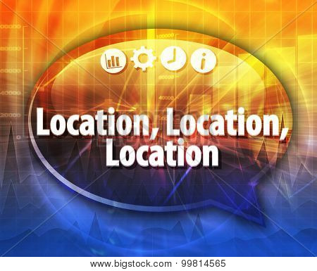 Speech bubble dialog illustration of business term saying Location Location Location