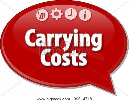 Speech bubble dialog illustration of business term saying Carrying Costs