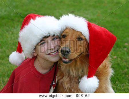 Christmas Boy And Dog