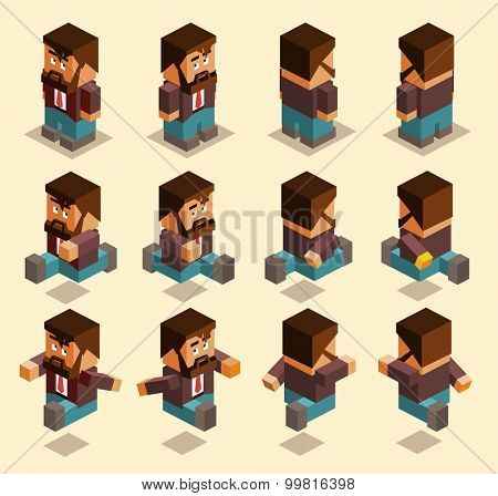 four sided character set. isometric art