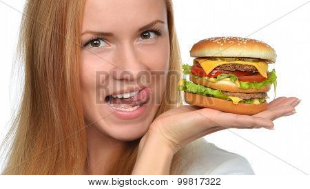 Fast Food Eating Concept Woman Hold Cheeseburger Sandwich With Cheese